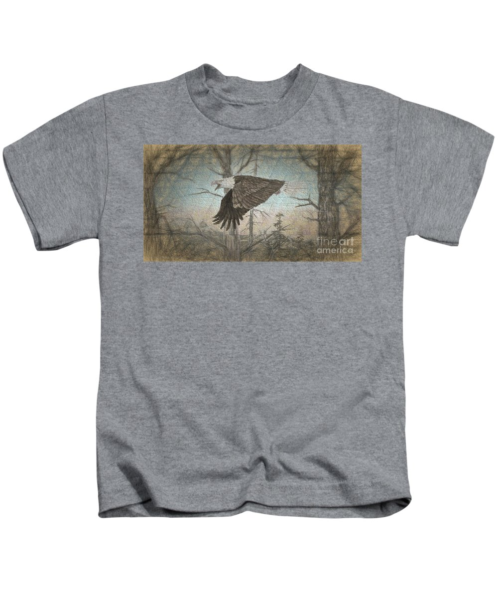 Eagle Kids T-Shirt featuring the digital art Eagle In Forest by Steven Parker