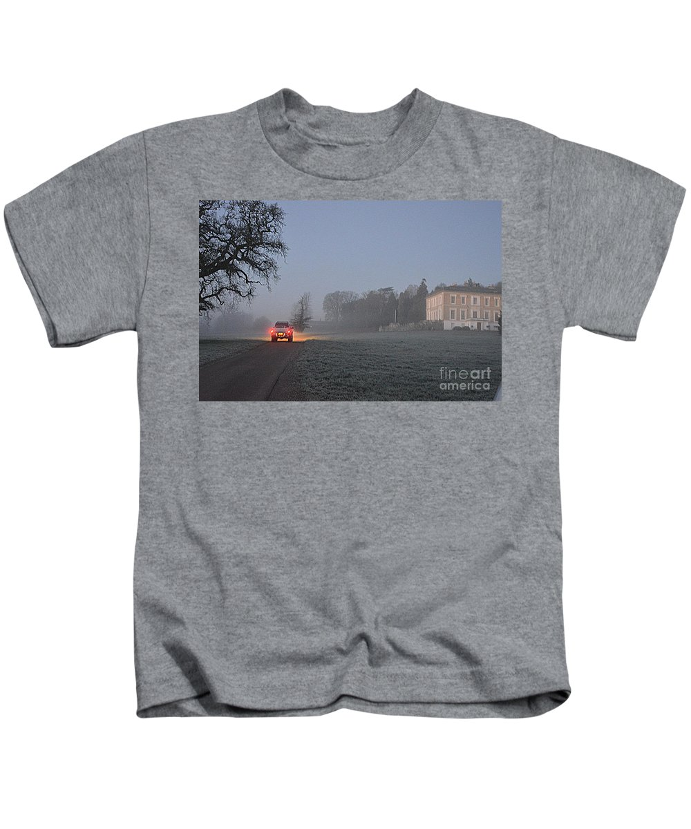 East Devon Kids T-Shirt featuring the photograph Early Morning Car Lights by Andy Thompson