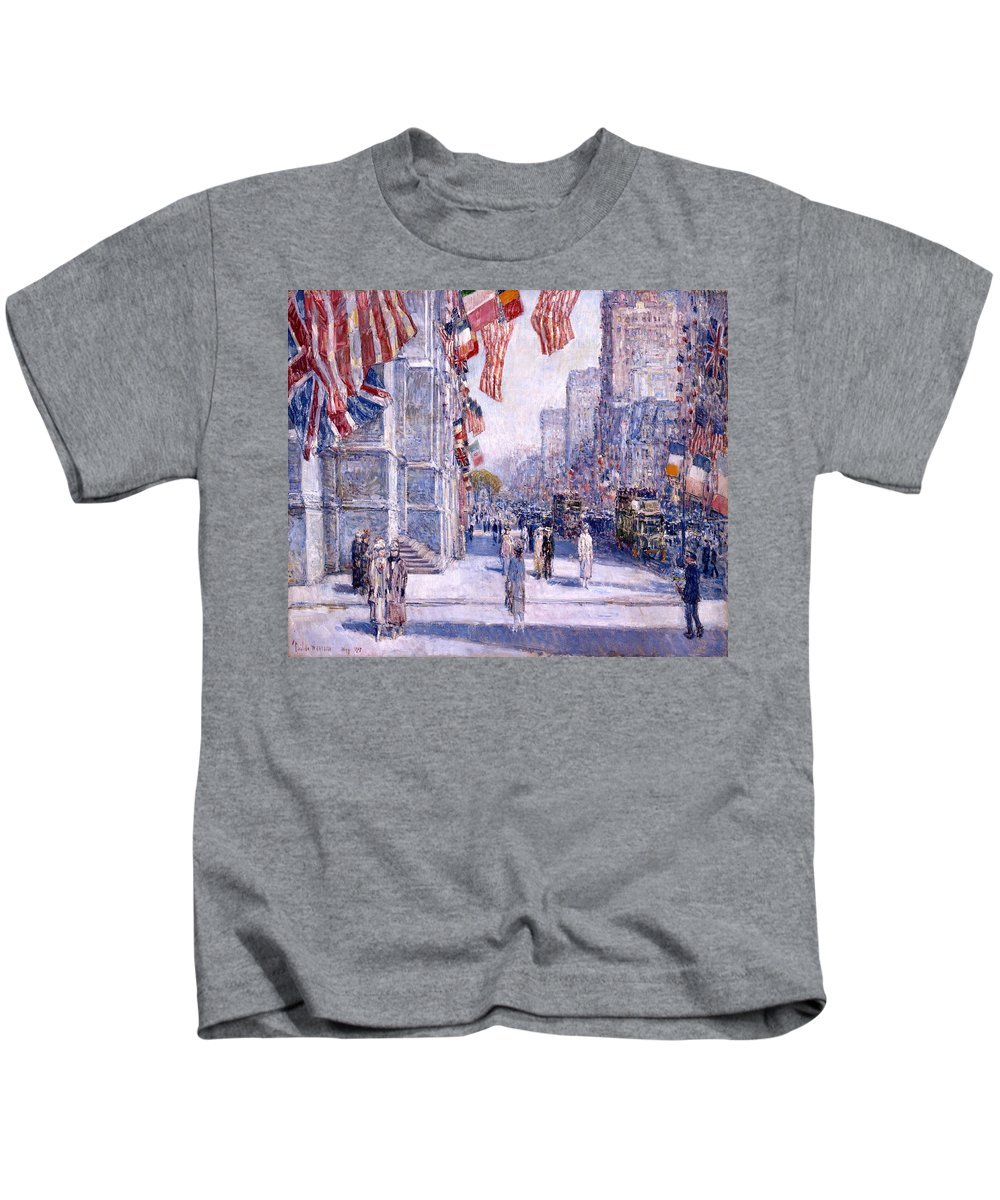 Childe Hassam Kids T-Shirt featuring the painting Early Morning On The Avenue In May 1917 - 1917 by Frederick Childe Hassam
