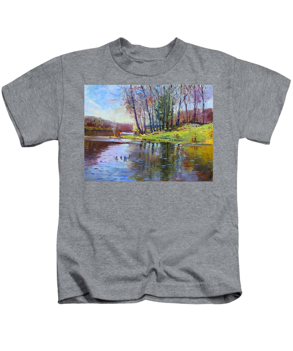 Landsape Kids T-Shirt featuring the painting Early Spring In Bear Mountain by Ylli Haruni
