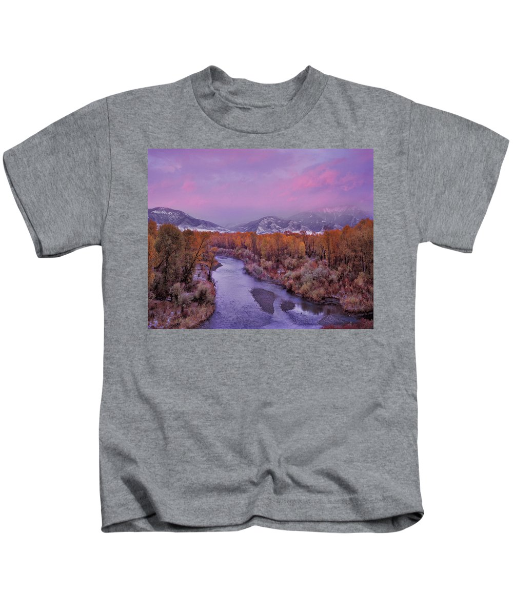 Winter Kids T-Shirt featuring the photograph Early Winter Sunset by Leland D Howard