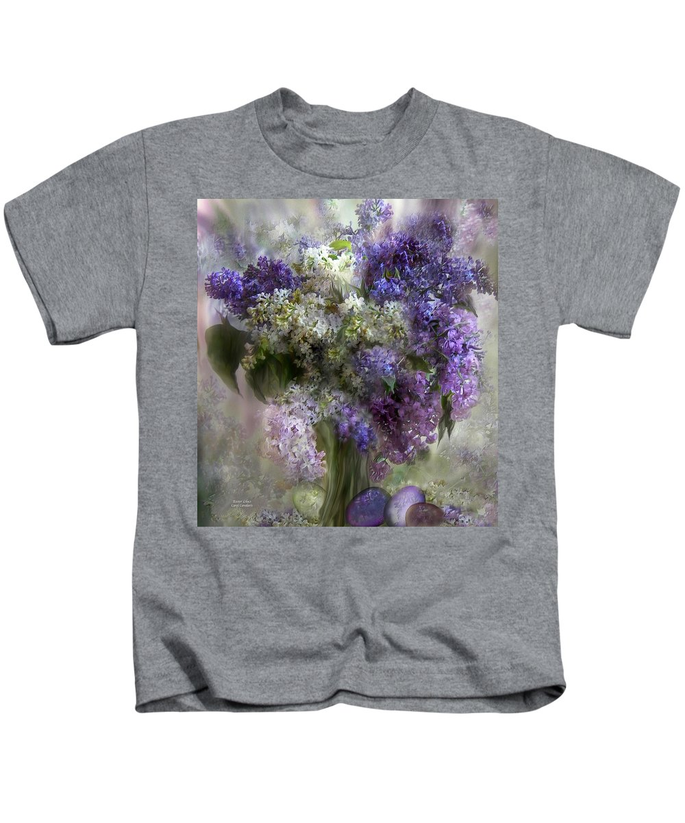 Lilacs Kids T-Shirt featuring the mixed media Easter Lilacs by Carol Cavalaris