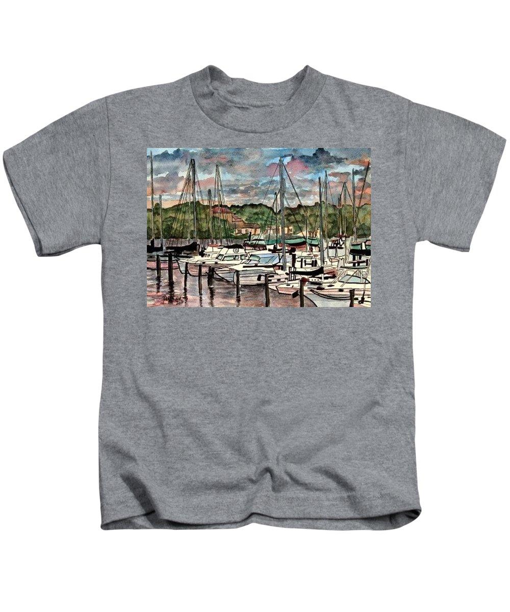 Sailboat Kids T-Shirt featuring the painting Eau Gallie Seascape painting by Derek Mccrea