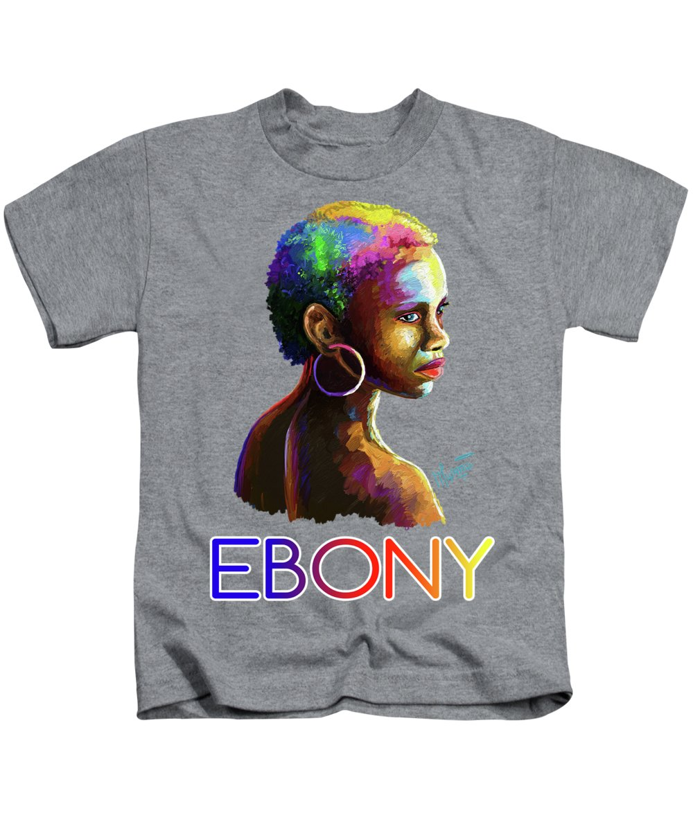 African Kids T-Shirt featuring the painting Ebony by Anthony Mwangi