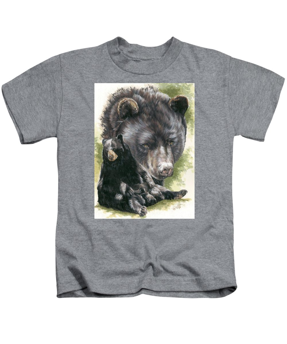 Black Bear Kids T-Shirt featuring the mixed media Ebony by Barbara Keith