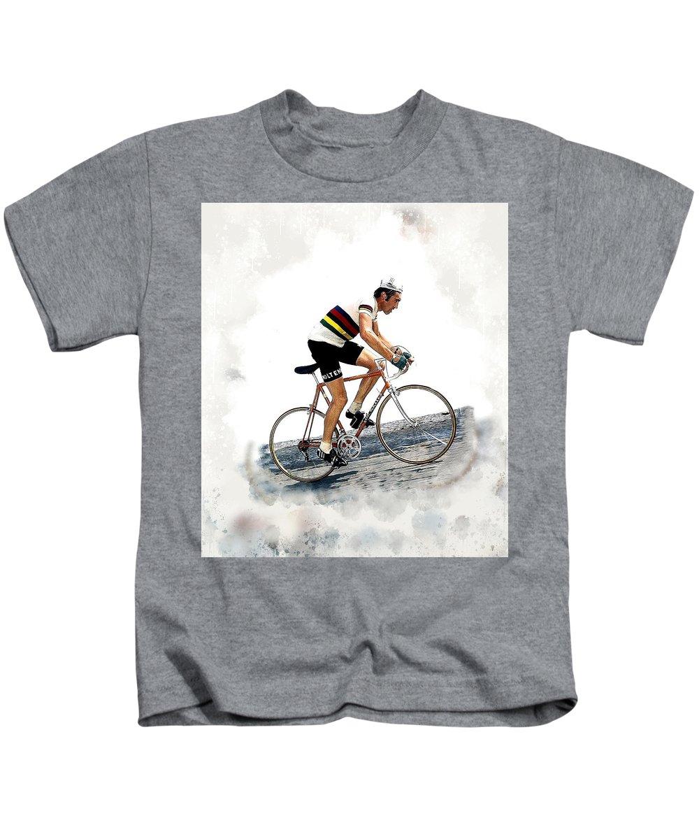 Eddie Merckx Kids T-Shirt featuring the digital art Eddie Merckx #2 by Karl Knox Images