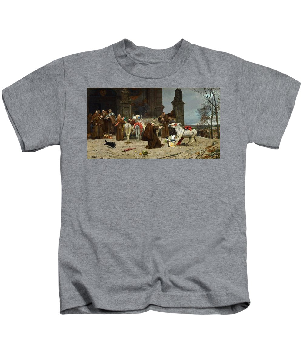Man Kids T-Shirt featuring the painting Eduardo Zamacois Y Zabala , Returning To The Monastery 1868 by Eduardo Zamacois y Zabala