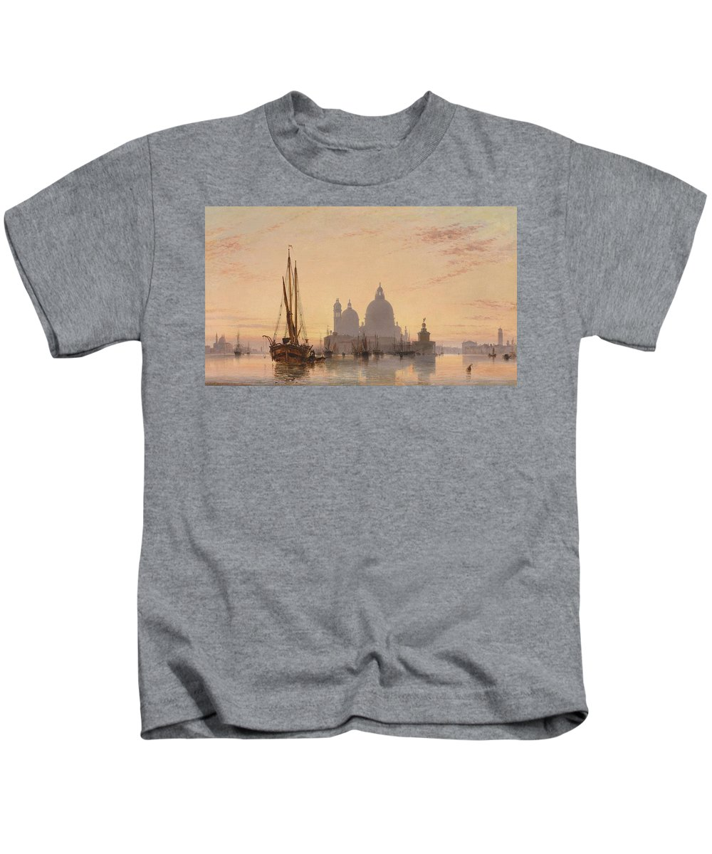 Nature Kids T-Shirt featuring the painting Edward William Cooke Venezia 1851 by Edward William