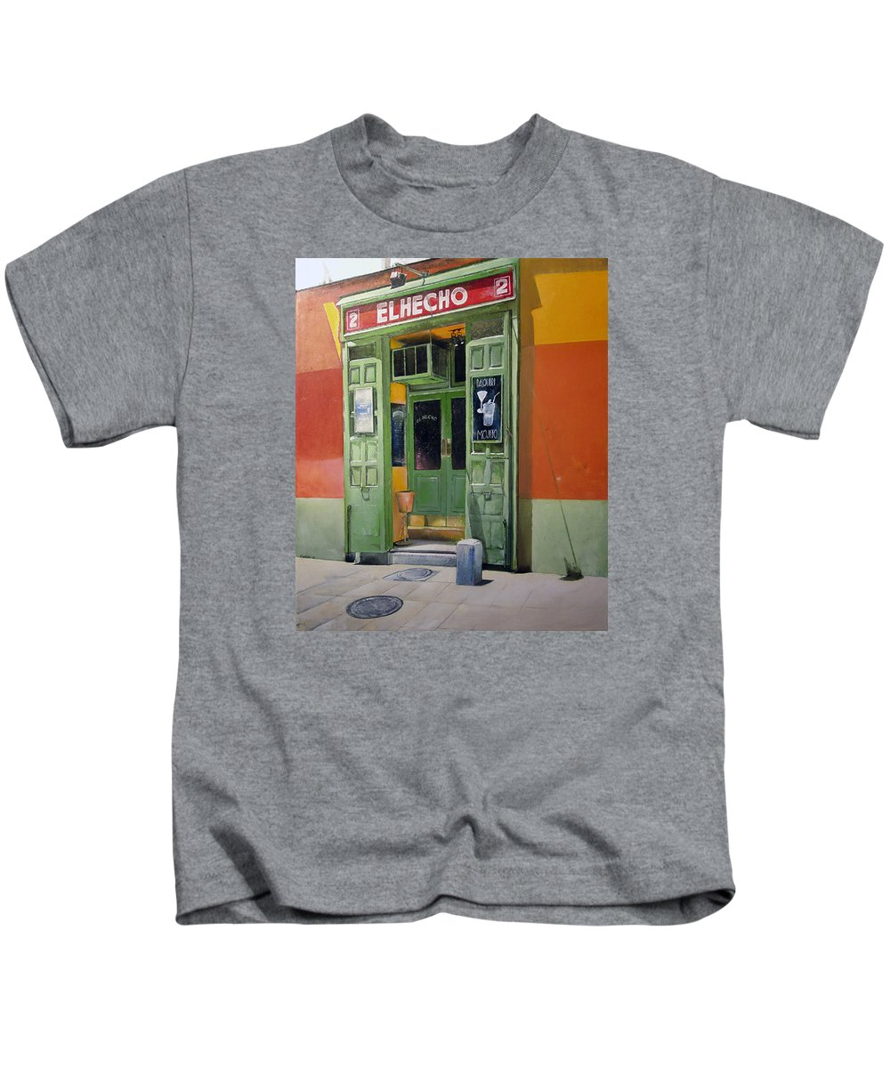 Hecho Kids T-Shirt featuring the painting El Hecho Pub by Tomas Castano