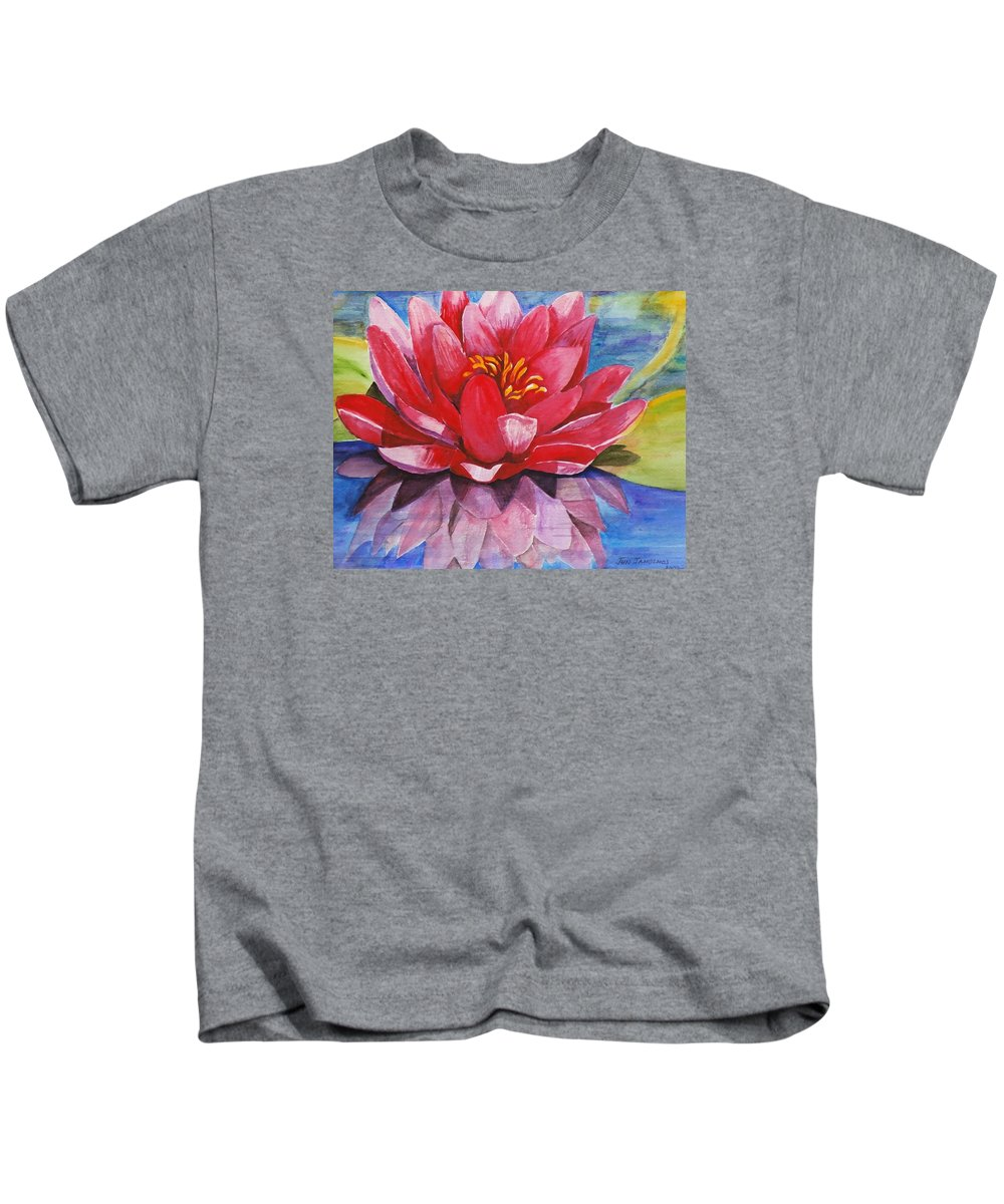 Lily Kids T-Shirt featuring the painting Ela Lily by Jun Jamosmos