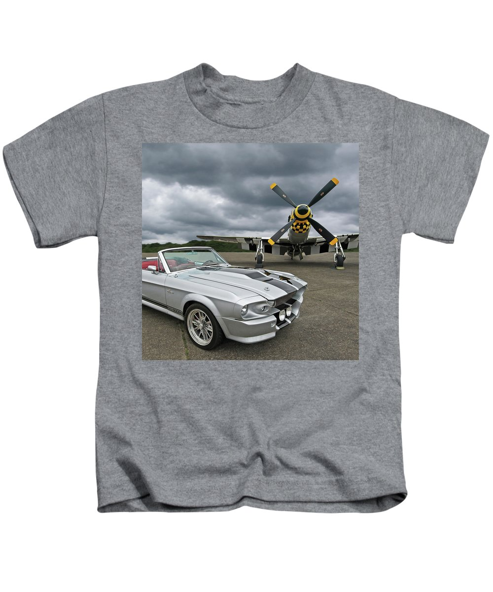 Ford Mustang Kids T-Shirt featuring the photograph Eleanor Mustang With P51 by Gill Billington