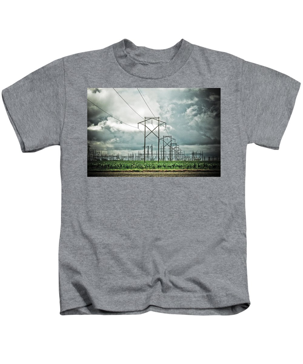 Electric Kids T-Shirt featuring the photograph Electric Lines And Weather by Marilyn Hunt