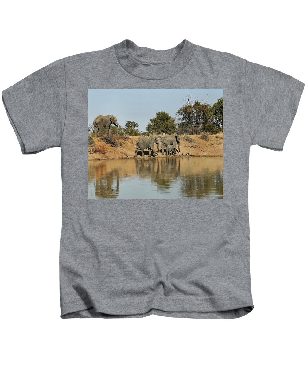 Elephant Kids T-Shirt featuring the photograph Elephant Refelction by Suzanne Morshead
