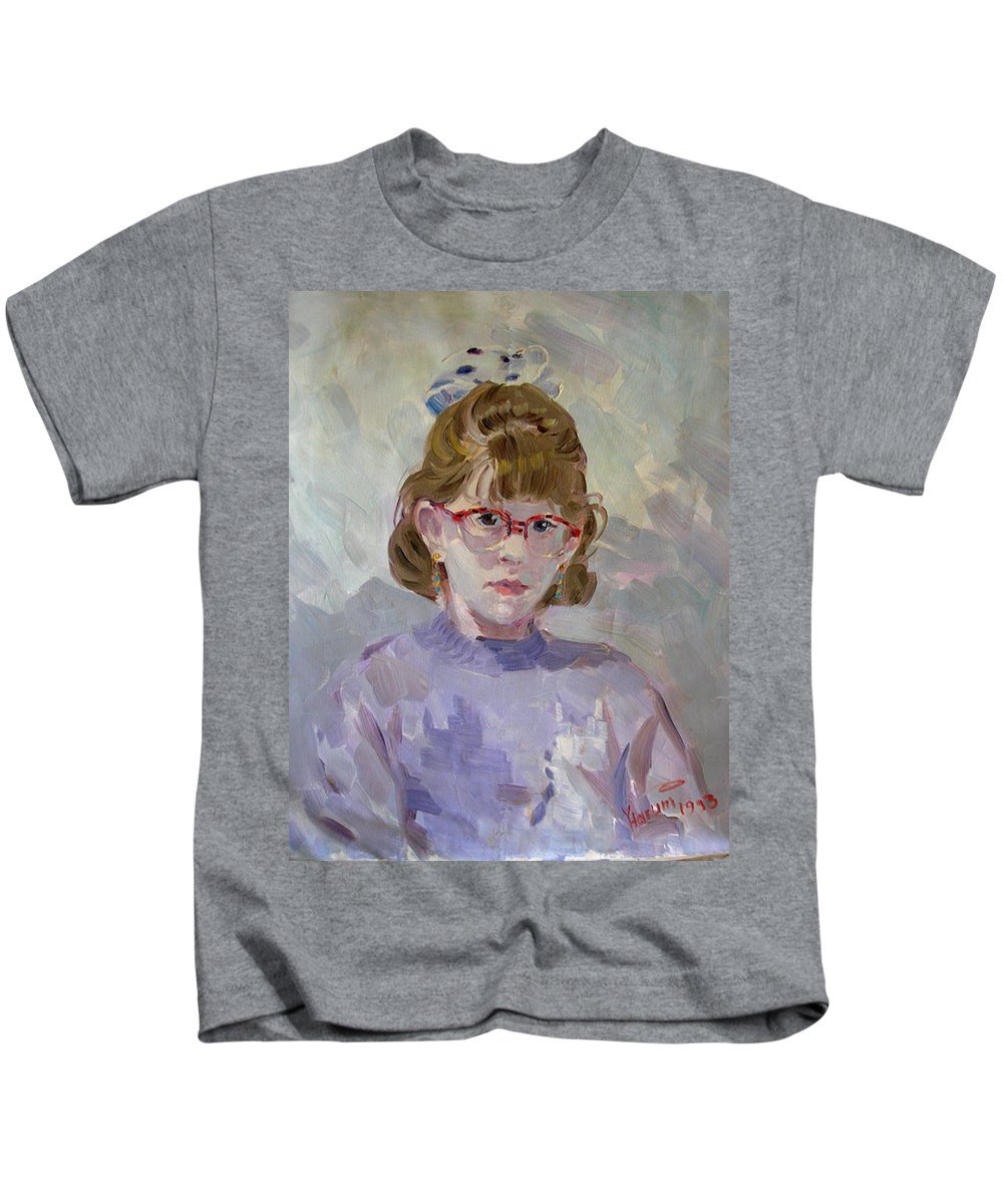 Portrait Kids T-Shirt featuring the painting Elona by Ylli Haruni