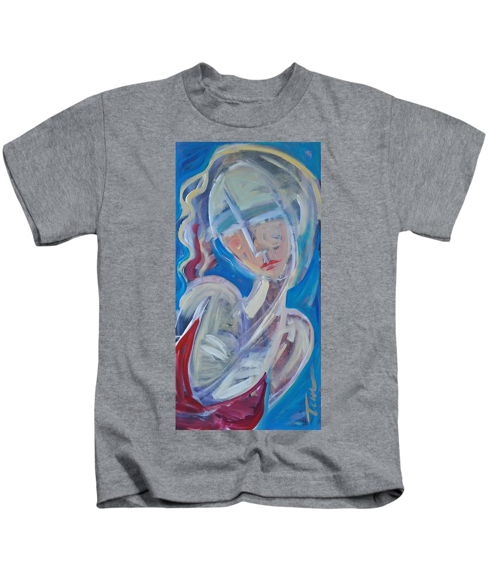 Woman Kids T-Shirt featuring the painting Embrace Me by Tim Nyberg