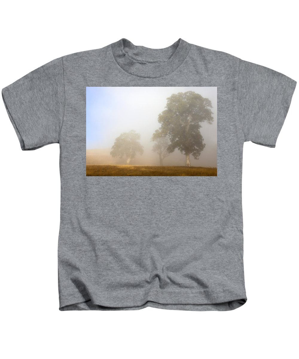 Gum Tree Kids T-Shirt featuring the photograph Emerging From The Fog by Mike Dawson