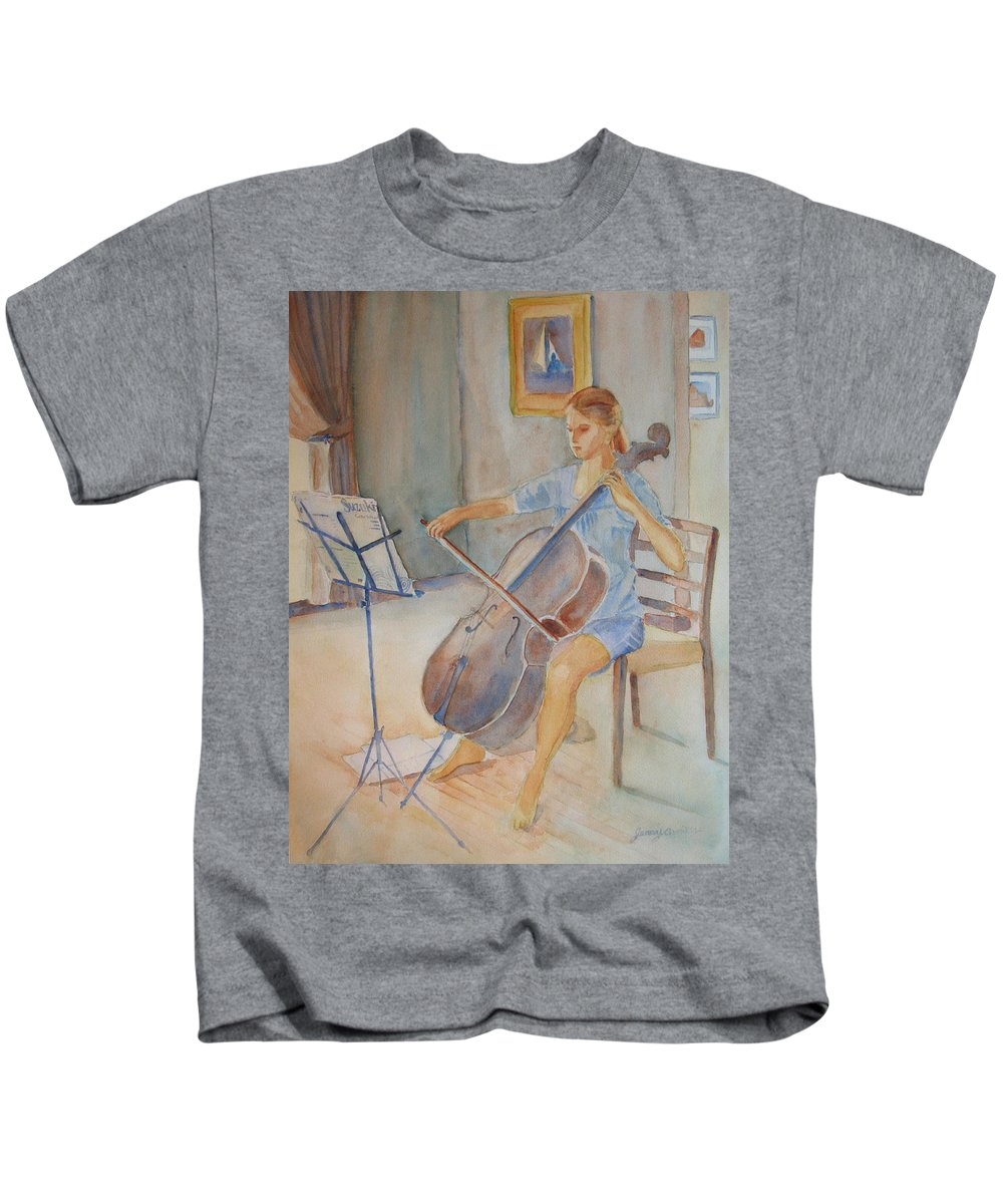 Girls Kids T-Shirt featuring the painting Emma And Clifford by Jenny Armitage