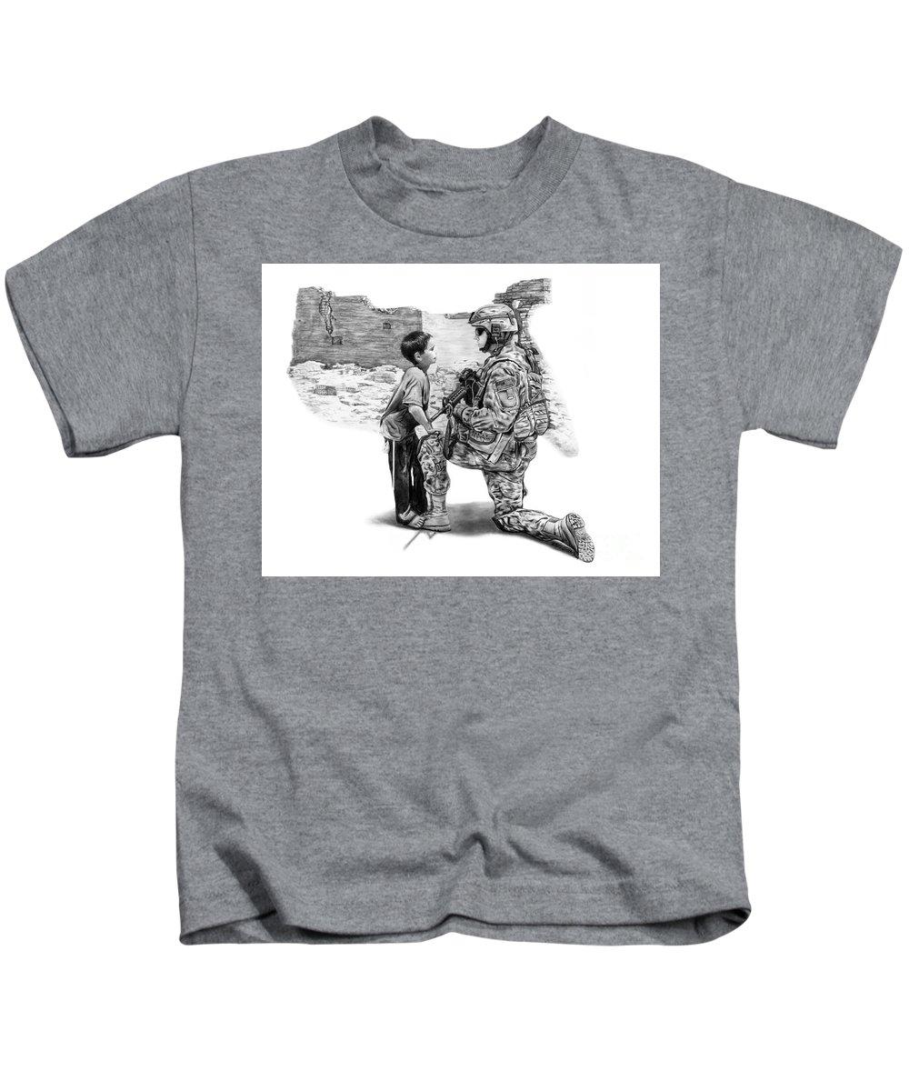 Empty Pockets Kids T-Shirt featuring the drawing Empty Pockets by Peter Piatt
