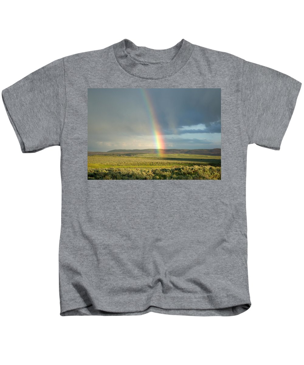 Clouds Kids T-Shirt featuring the photograph End Of The Rainbow by Linda Kerkau