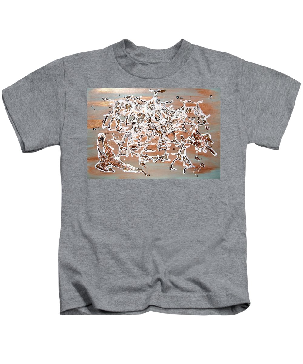 Abstract Mixed Media Kids T-Shirt featuring the painting Energy Dance by Georgeta Blanaru