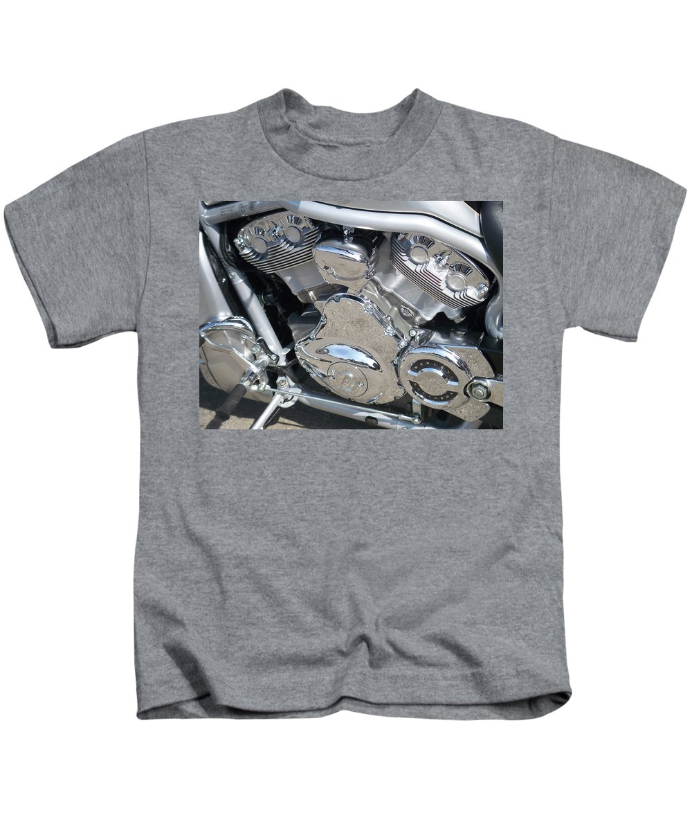 Motorcycle Kids T-Shirt featuring the photograph Engine Close-up 2 by Anita Burgermeister