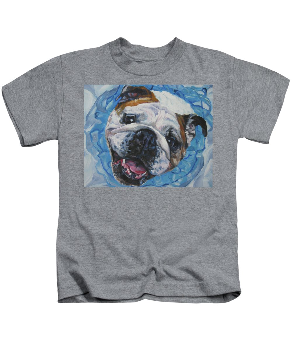 English Bulldog Kids T-Shirt featuring the painting English Bulldog by Lee Ann Shepard