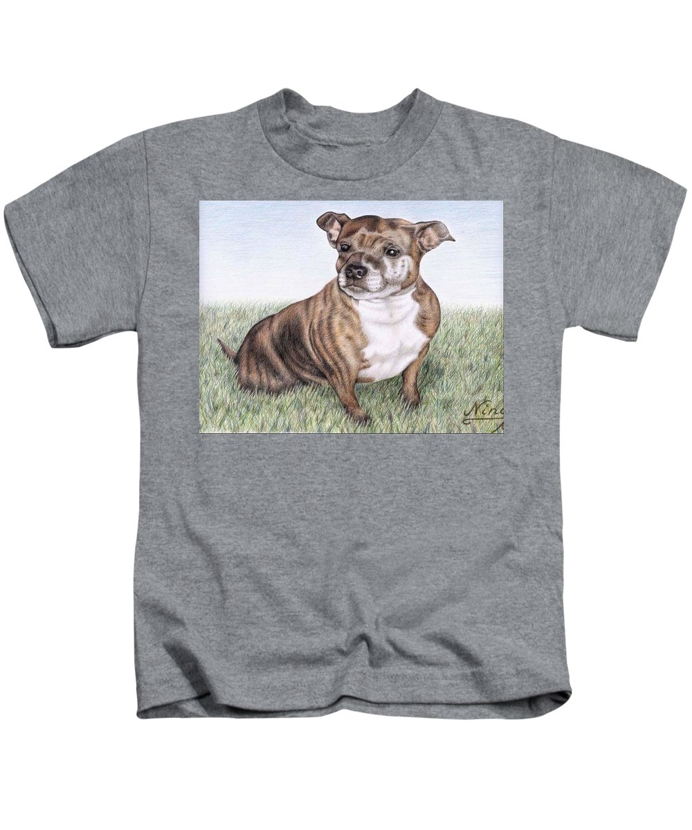 Dog Kids T-Shirt featuring the drawing English Staffordshire Terrier by Nicole Zeug
