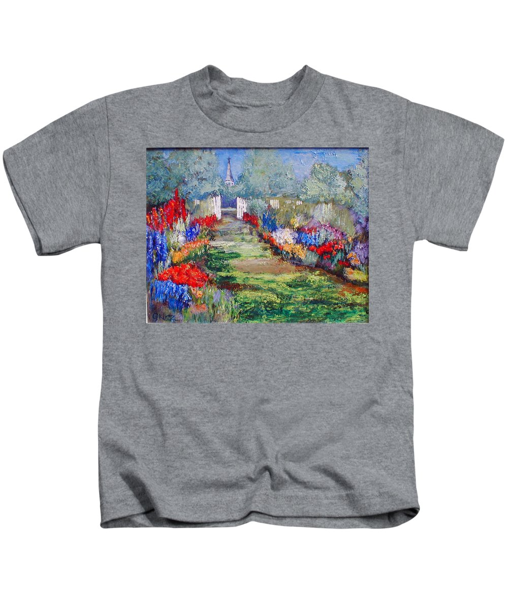Landscape Kids T-Shirt featuring the painting Enter His Gates by Gail Kirtz