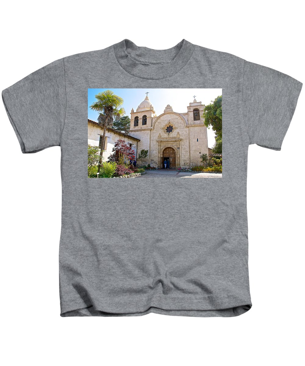 Entering The Church Sanctuary At Carmel Mission Kids T-Shirt featuring the photograph Entering The Church Sanctuary At Carmel Mission-california by Ruth Hager
