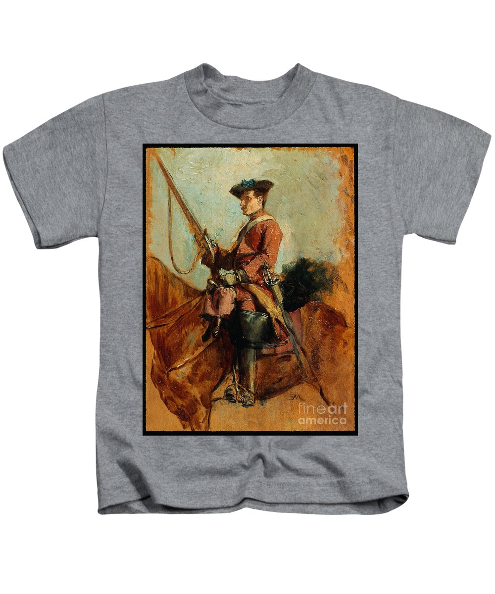 Horseman Jean Louis Ernest Meissonier (french Kids T-Shirt featuring the painting Ernest Meissonier by MotionAge Designs