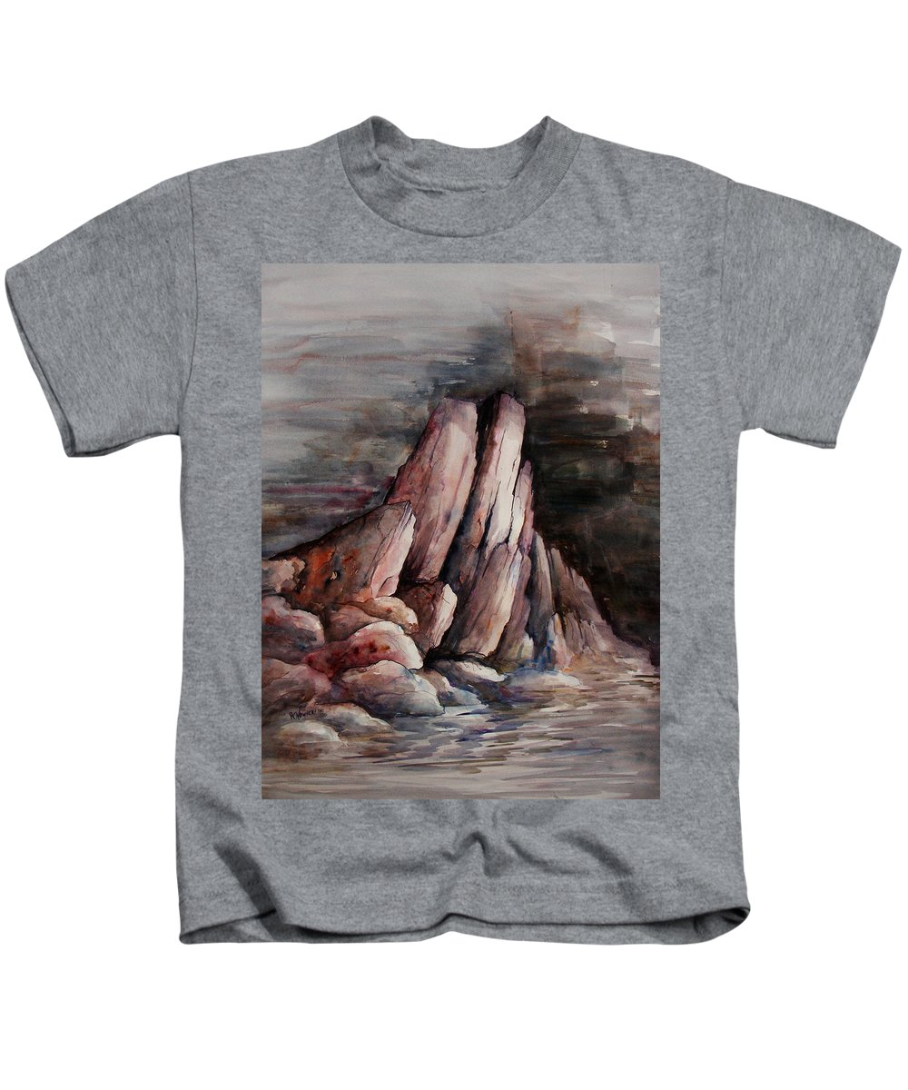 Landscape Kids T-Shirt featuring the painting Eruption by Rachel Christine Nowicki