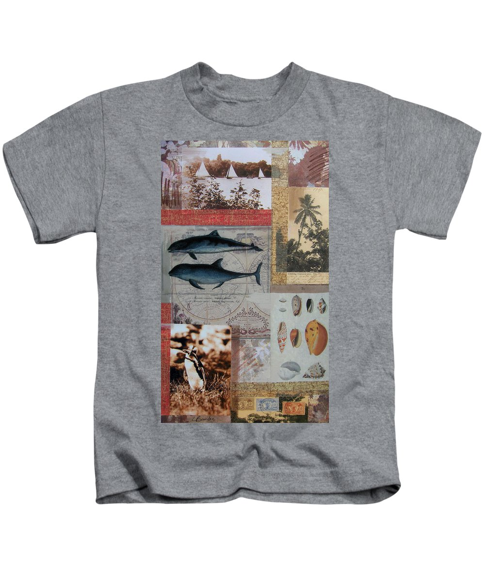 Travel Kids T-Shirt featuring the mixed media Escape And Explore Iv by Leigh Banks