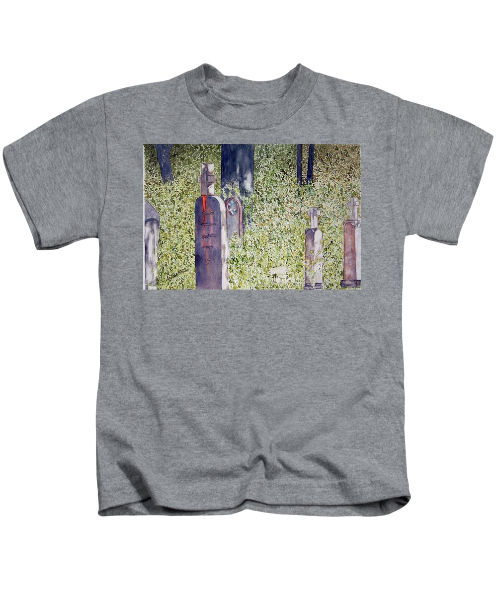 Cemeteries Kids T-Shirt featuring the painting Eternity In Hoonah by Larry Wright