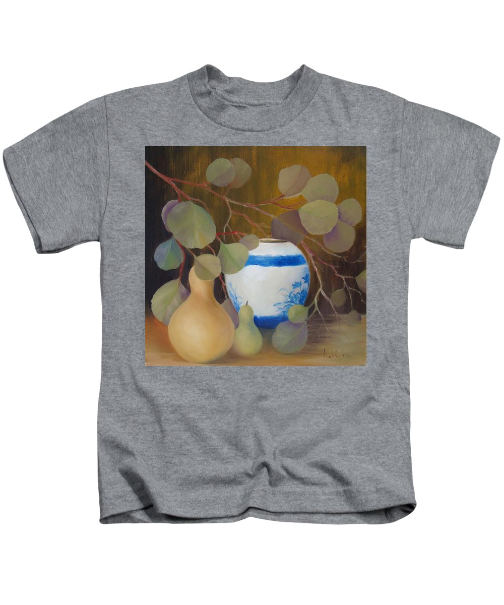 Eucalyptus Branches Kids T-Shirt featuring the painting Eucalyptus And Vase by Thuthuy Tran