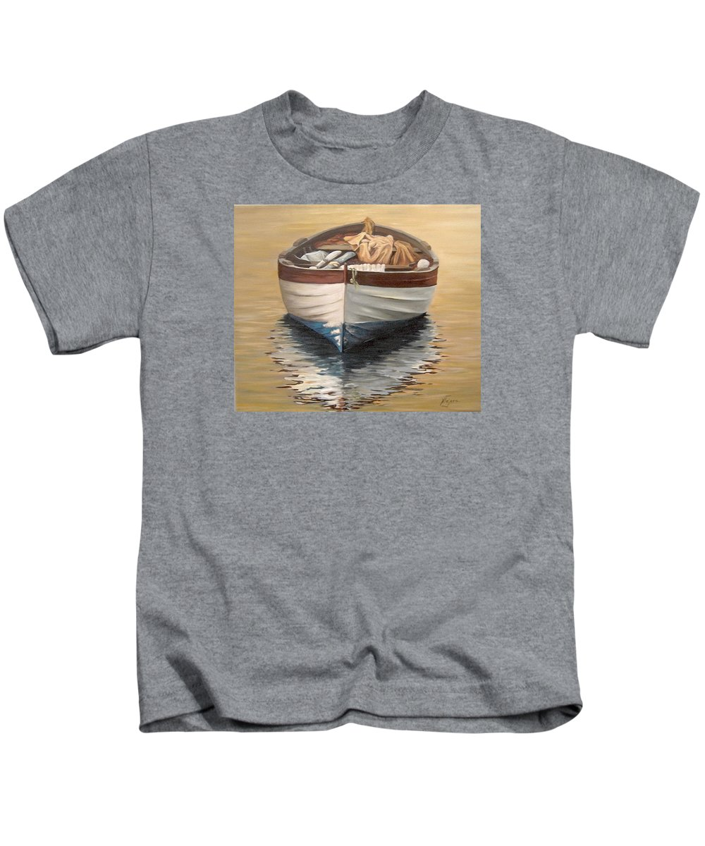 Boats Reflection Seascape Water Kids T-Shirt featuring the painting Evening Boat by Natalia Tejera