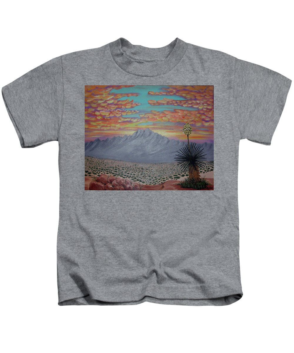 Desertscape Kids T-Shirt featuring the painting Evening in the Desert by Marco Morales