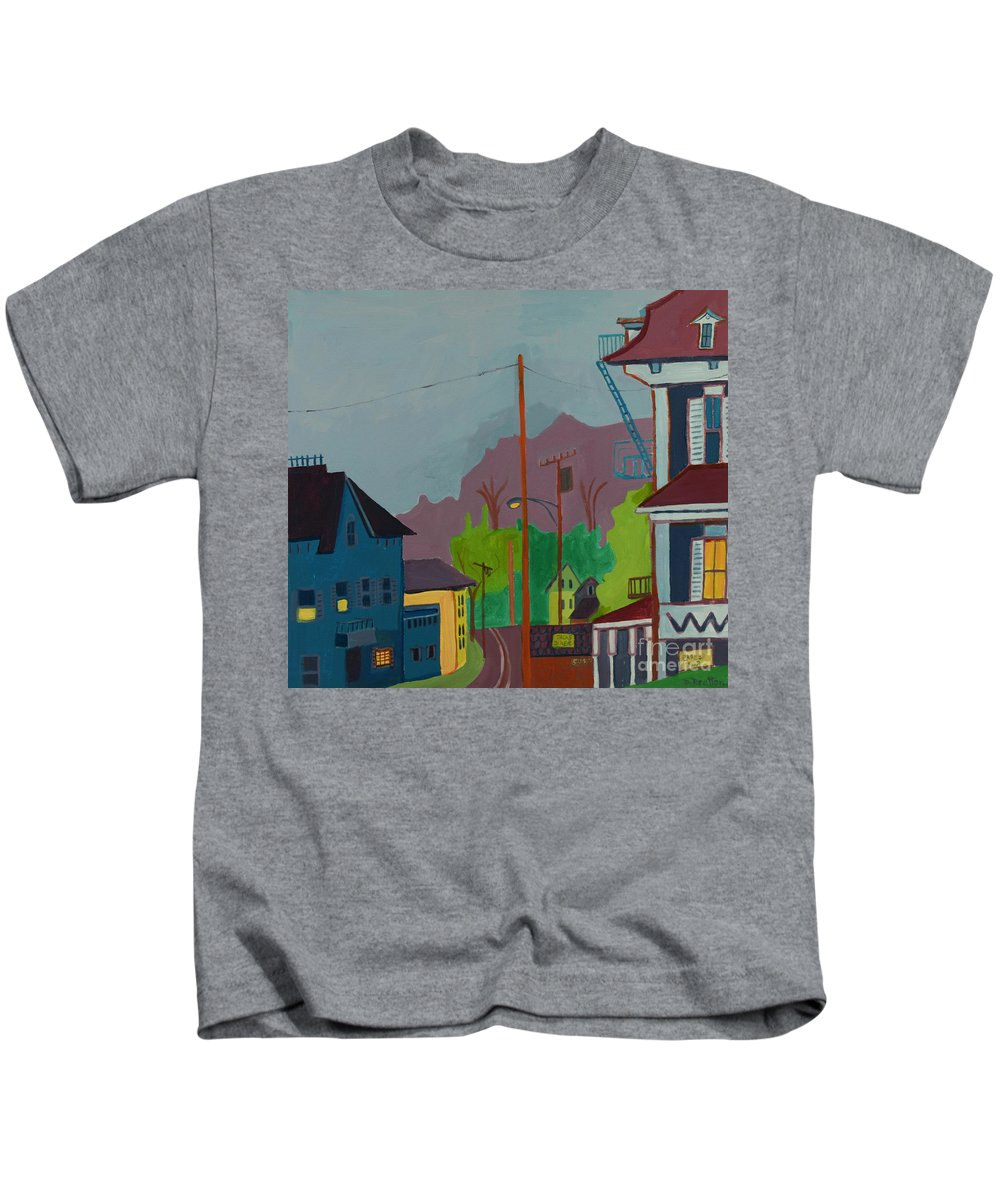 Town Kids T-Shirt featuring the painting Evening In Town Chelmsford Ma by Debra Bretton Robinson