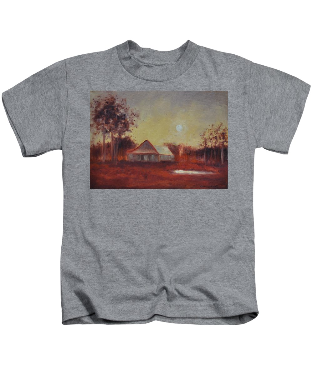 Sunsets Kids T-Shirt featuring the painting Evening Light by Ginger Concepcion