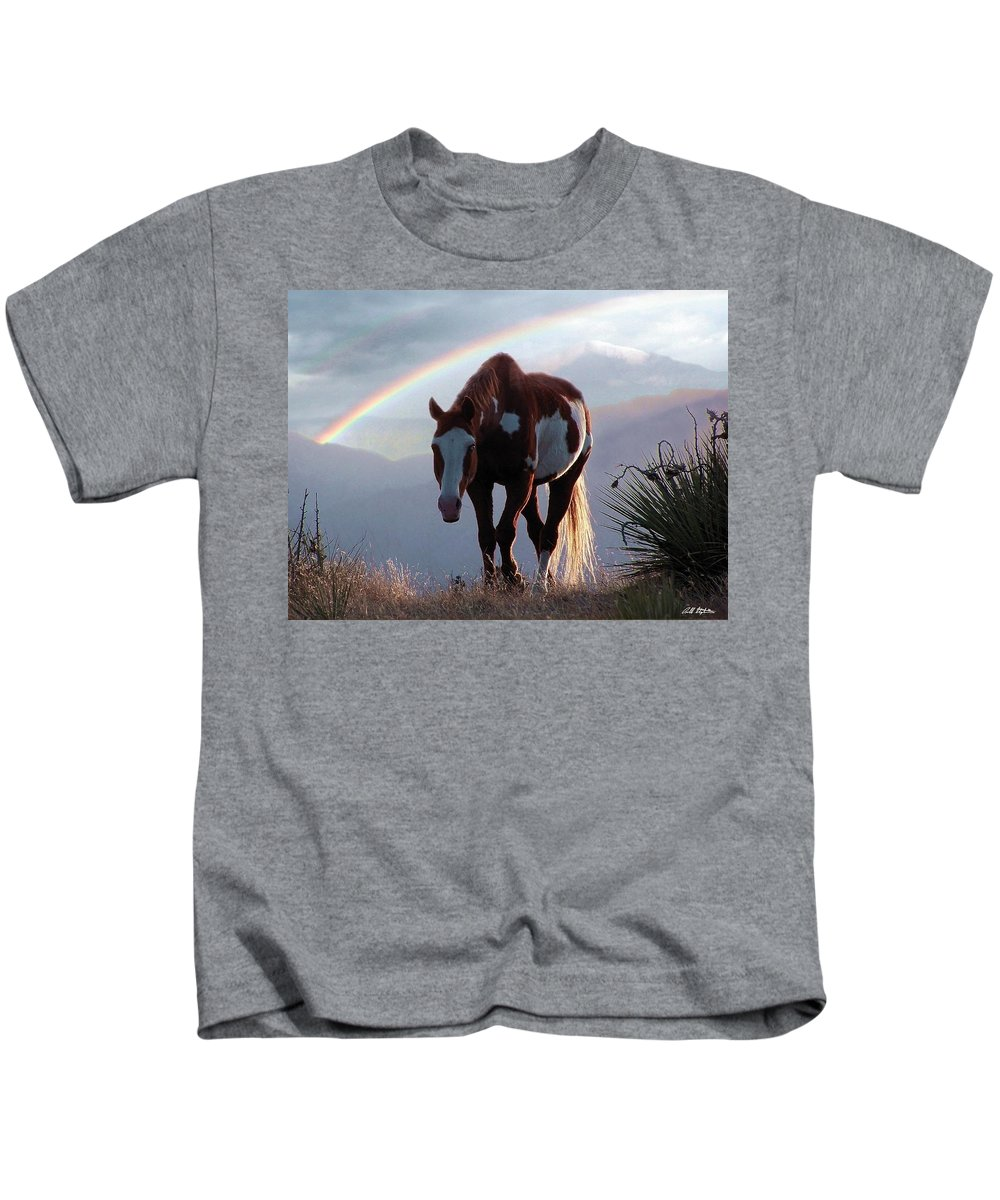 Horses Kids T-Shirt featuring the mixed media Evening Promise by Bill Stephens