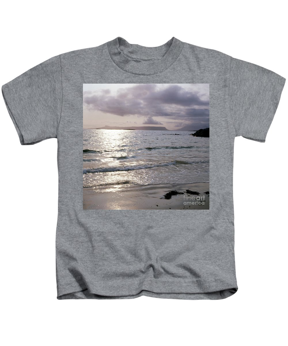 Arisaig Kids T-Shirt featuring the photograph Evening The Isle Of Eigg Inner Hebrides From The Beach At Arisaig Scotland by Michael Walters
