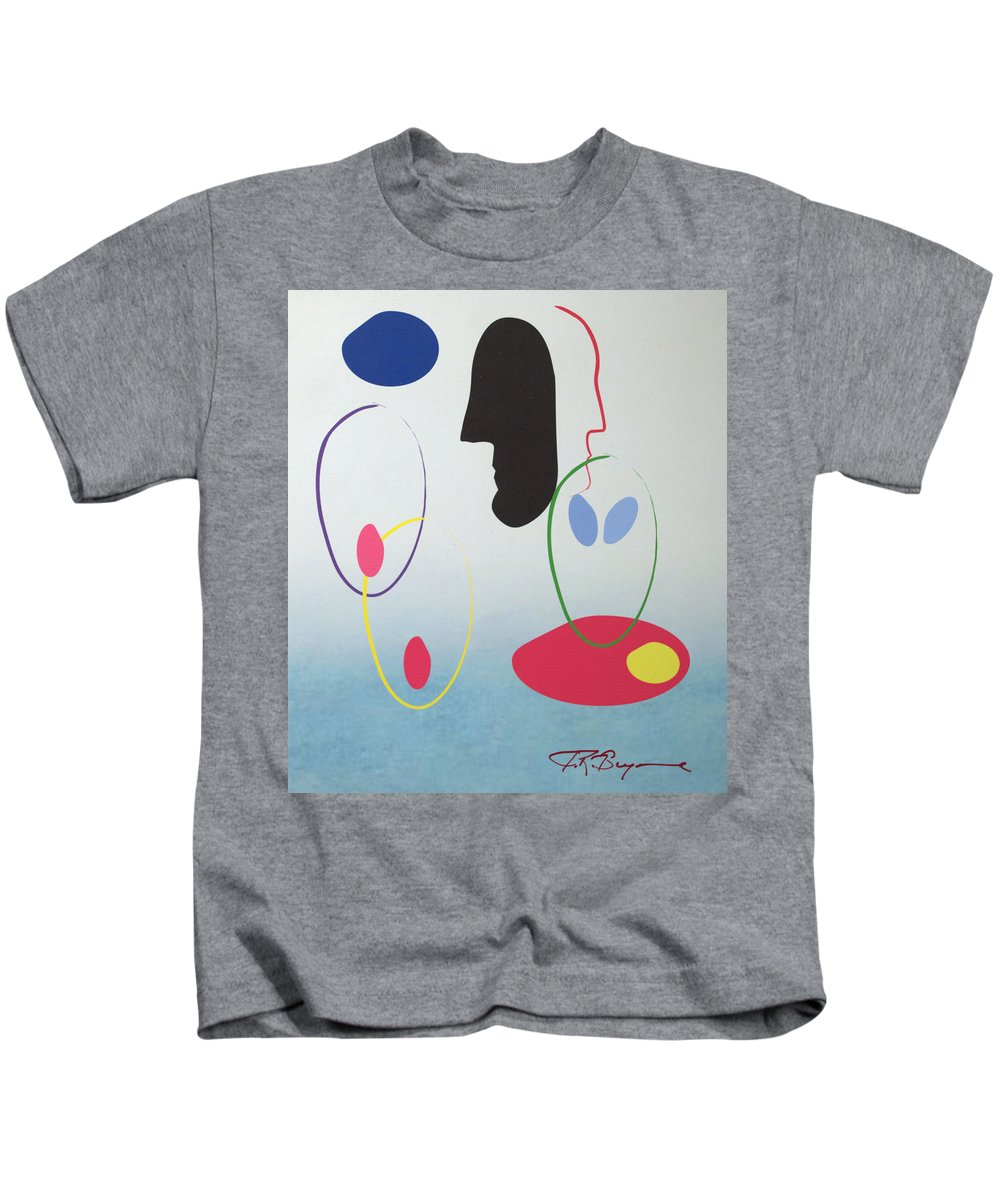 Digital Artwork Kids T-Shirt featuring the digital art Everyones Talking And No One's Listening by J R Seymour