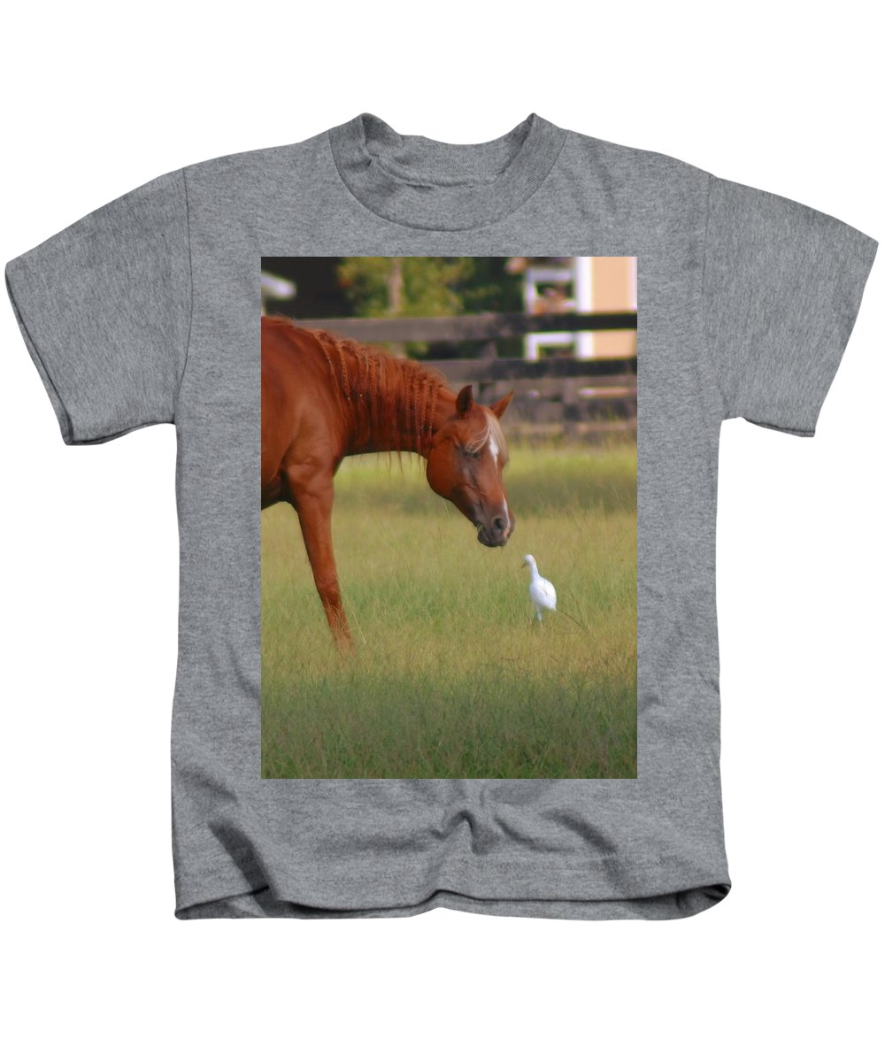 Horse Kids T-Shirt featuring the photograph Excuse Me by Donna Bentley