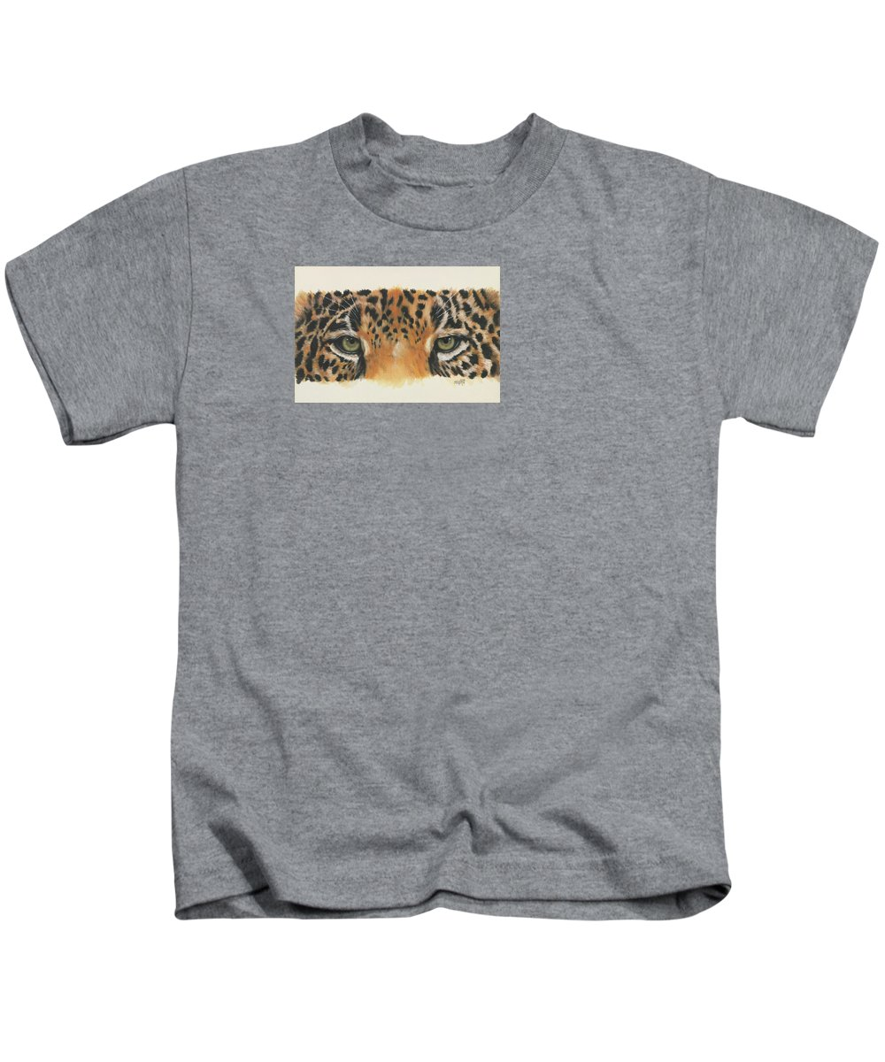 Jaguar Kids T-Shirt featuring the painting Eye-catching Jaguar by Barbara Keith