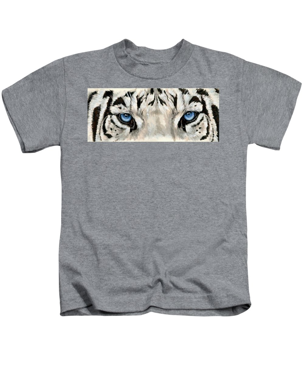 Big Cat Kids T-Shirt featuring the painting Royal White Tiger Gaze by Barbara Keith