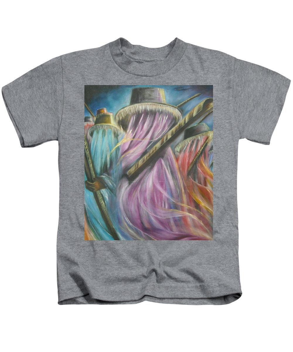 Masquerade Kids T-Shirt featuring the painting Eyo Masquerade Colorful by Olaoluwa Smith