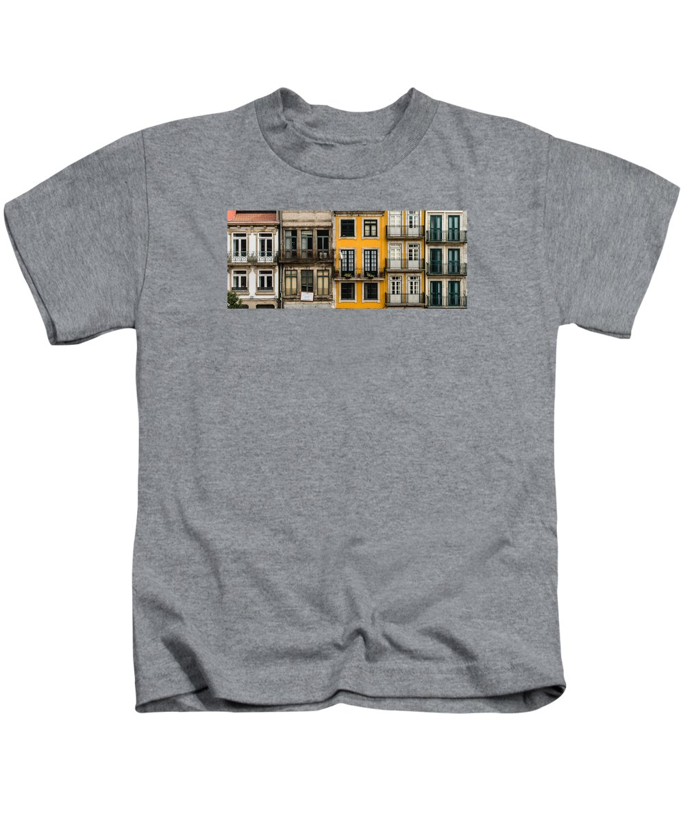 Porto Kids T-Shirt featuring the photograph Facades Of Porto by Jan Komsta