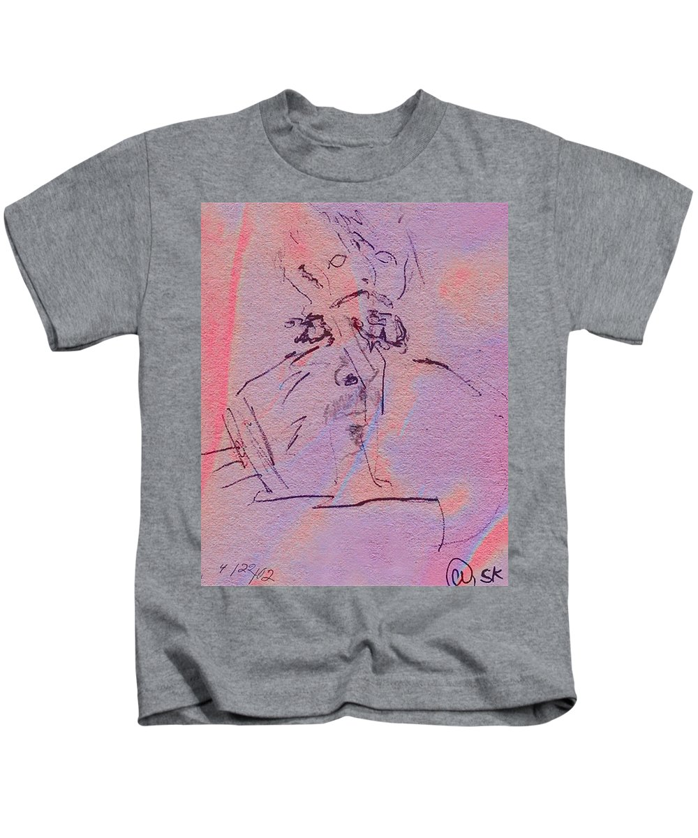 Abstract Kids T-Shirt featuring the mixed media Faces Of Trivia by Steve Karol
