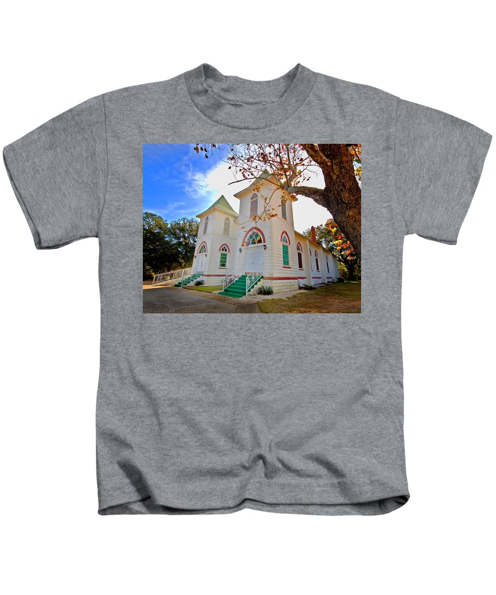 Church Kids T-Shirt featuring the painting Fairhope Zion Church by Michael Thomas