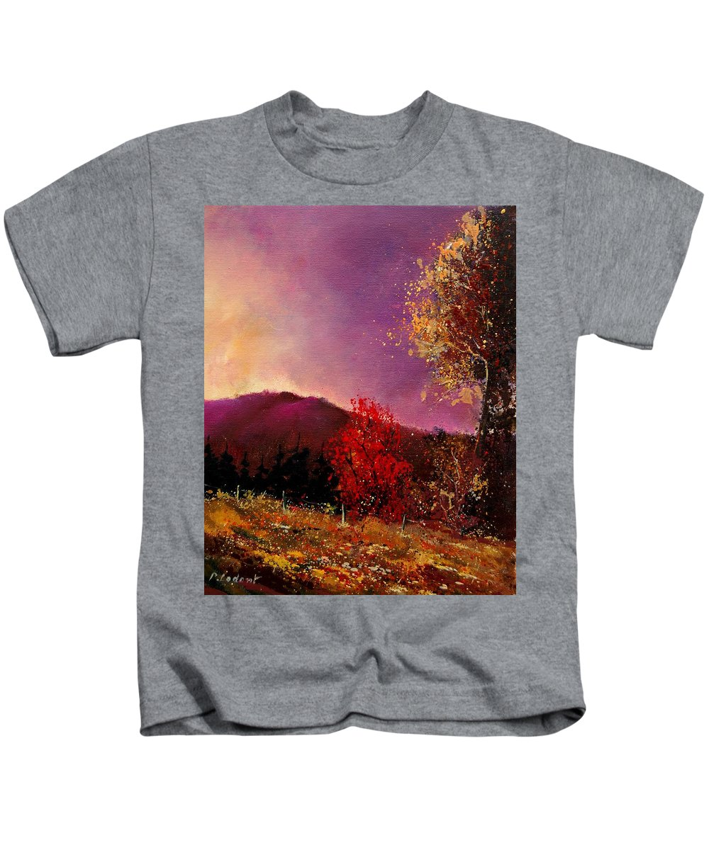 River Kids T-Shirt featuring the painting Fall Colors by Pol Ledent