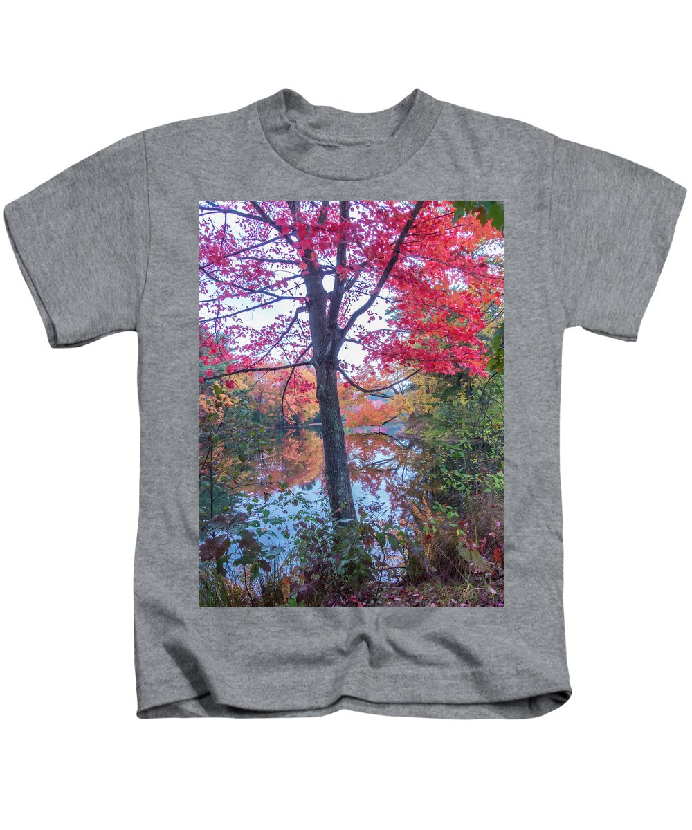 Fall Foliage Kids T-Shirt featuring the photograph Fall Lagoon by Diane Moore